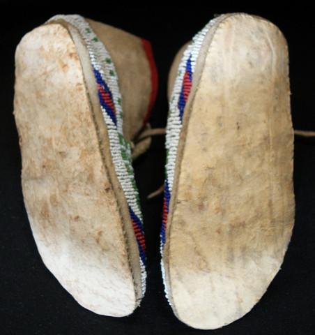 1890's Dakota Sioux Sinew Sewn Hide Moccasins