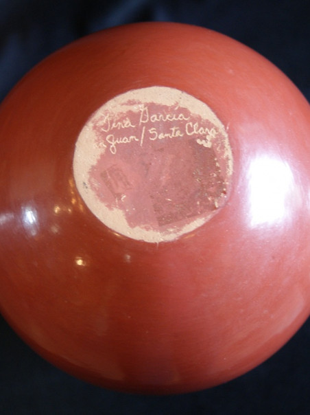 """Tina Garcia Santa Clara Pueblo 8 1/2"""" Tall Red Jar Decorated W/ A Fluted Rim Tina Garcia 1957-2005"""