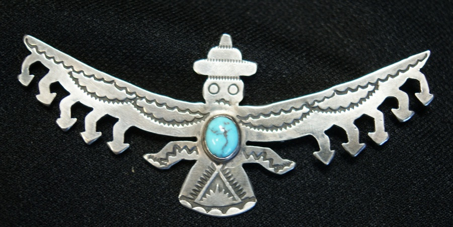 Lightning Knifewing Bird Pin W/ Turquoise Stone Artist Unknown