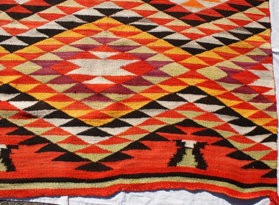 Vintage Late 1800's Navajo Indian Multicolor Transitional Blanket