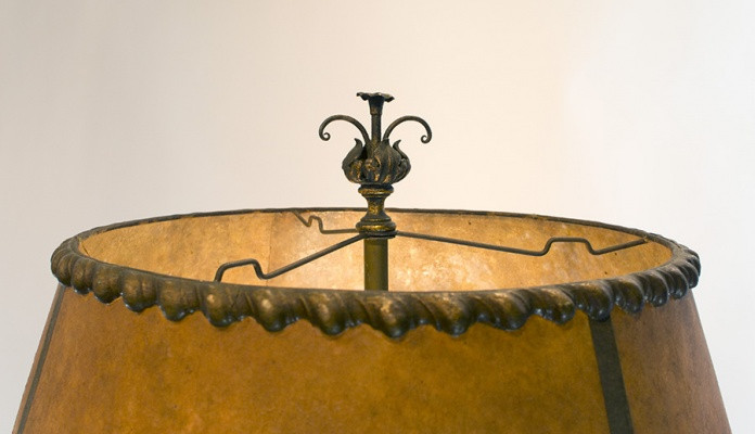Spanish Revival Floor Lamp with Mica Shade Circa 1920's