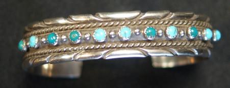 Navajo Silver Bracelet W/ 11 Turquoise Stones Artist Unknown