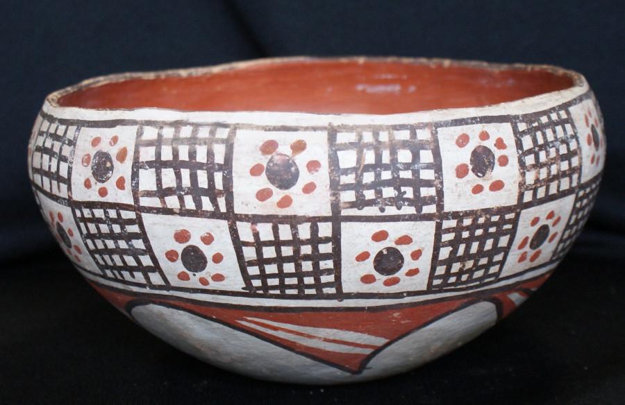 "Isleta Pueblo Indian Pottery Bowl 1920's 8 1/2"" D. Isleta Pueblo Indian Pottery Bowl 1920's 8 1/2"" D."