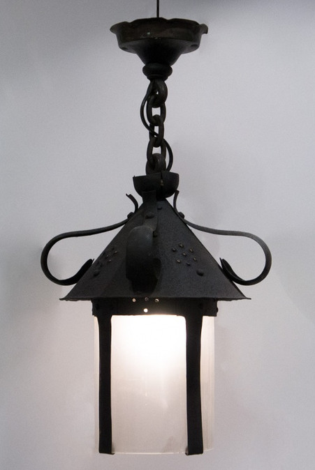 Iron Hanging Light with Cylindrical Opaque Glass Insert