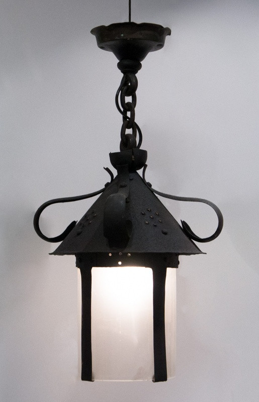 Iron Hanging Light with Cylindrical Opaque Glass Insert Iron Hanging Light with Cylindrical Opaque Glass Insert