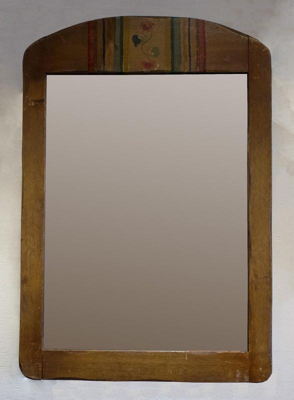 Coronado Mirror with Striped and Floral Crest Design Circa 1930's