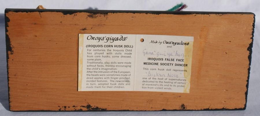 Vintage Iroquois False Face Society Mask Corn Husk Doll W/Staff & Rattle