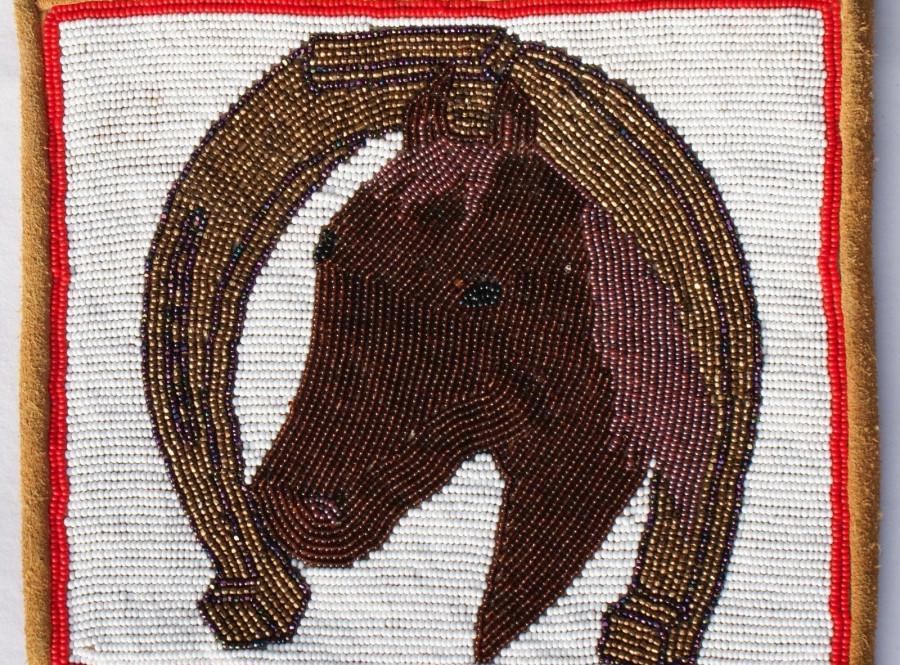 Vintage Yakima Plateau Indian Beaded Horse Portrait Framed By Horseshoe Flat Bag