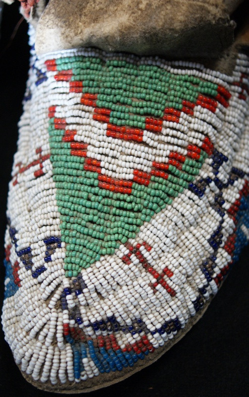 1910 Sioux Beaded Sinew Sewn Moccasins