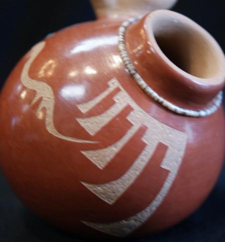 Barbara Gonzales Tahn Moo Whe San Ildefonso Pueblo Avanyu Pottery Jar W/Bird