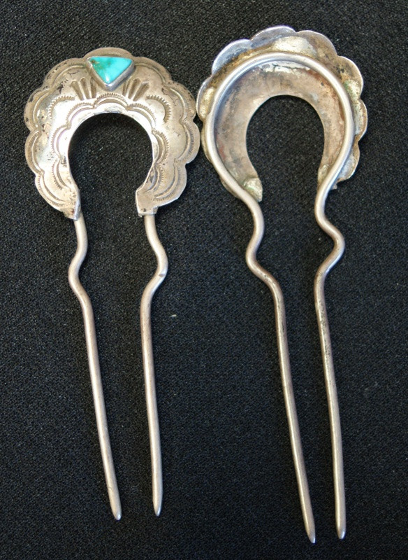 Navajo Silver Hair Pins W/ Turquoise Stone Artist Unknown
