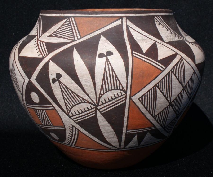 "Acoma Indian Pueblo 1940's Polychrome Pottery Jar 8"" x 6 5/8"" Ex Cond Acoma Indian Pueblo 1940's Polychrome Pottery Jar 8"" x 6 5/8"" Ex Cond"