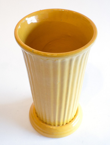 """Garden City Pottery 13"""" Tall Ribbed Footed Vase"""