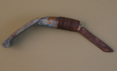 Woodlands Indian Crooked Knife With Blue Painted Handled