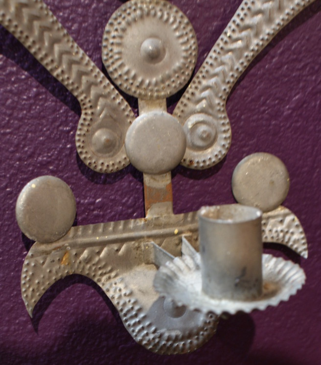 2 Early 20th Century Northern New Mexican Handmade Tin Wall Sconces Star Punched