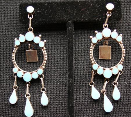 Vintage Dishta Zuni Indian Sterling Silver Turquoise Earrings