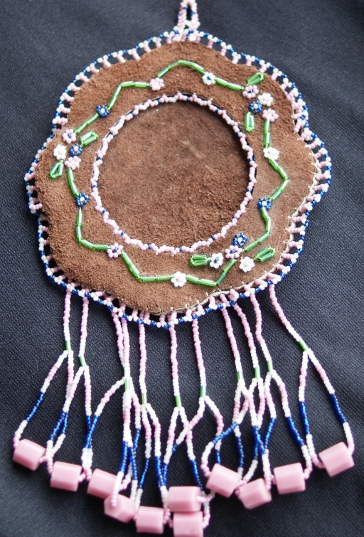 Vintage Native Beaded Leather Hanging Picture Frame