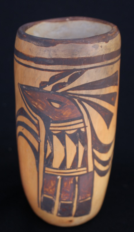 "Early 20th Century Hopi Pueblo Polychrome Pottery Cylinder Vase 6.5-x 3"""