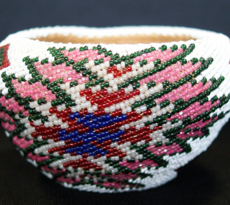 Vintage Paiute Indian Woven Beaded Red Green White Pink Blue Opalescent Basket