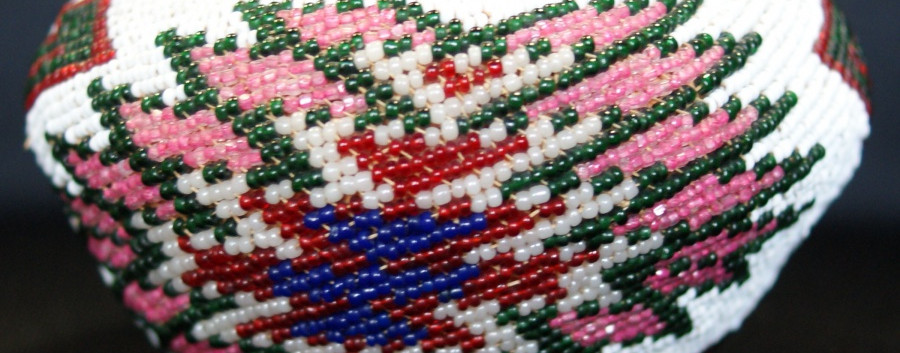 Vintage Paiute Indian Woven Beaded Red Green White Pink Blue Opalescent Basket Vintage Paiute Indian Woven Beaded Red Green White Pink Blue Opalescent Basket