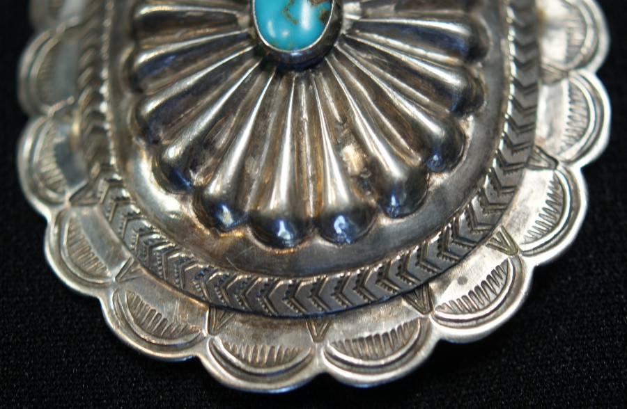 Vintage Navajo Concho Pin/ Brooch W/ Turquoise Center Artist Unknown