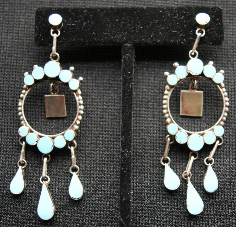Vintage Dishta Zuni Indian Sterling Silver Turquoise Earrings