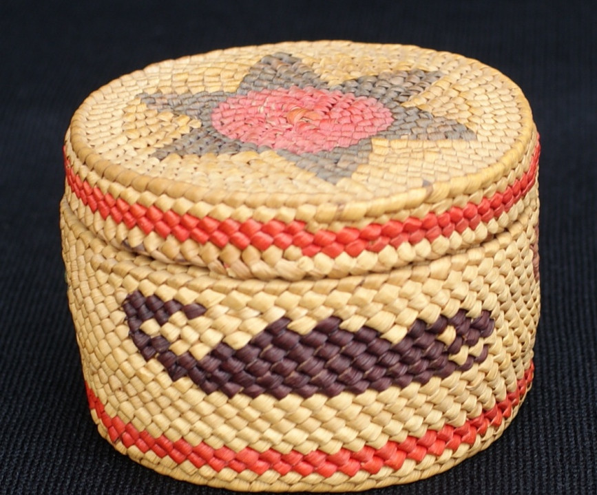 Makah or Nootka Antique Lidded Basket With Polychrome Whales and Star Artist Unknown