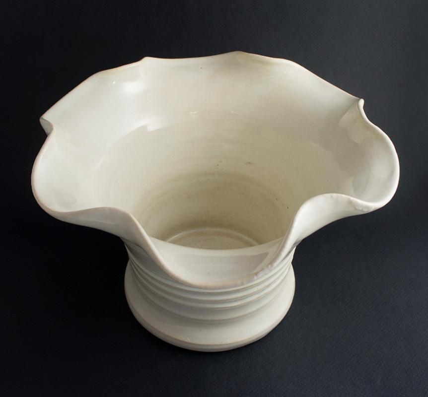 Bauer Pottery Matt Carlton White Ruffle Edge Vase Matt Carlton