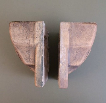"""Pair of Cal Art Pottery """"End of the Trail"""" Corbels"""