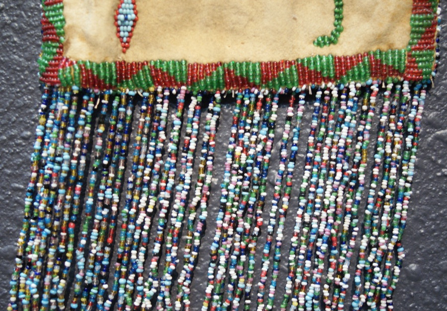 Vintage Apache Native Beaded On Both Sides Fringed Hide Pouch