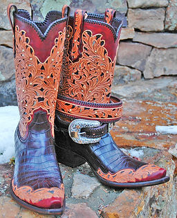 gold silver croc boots with belt.jpg