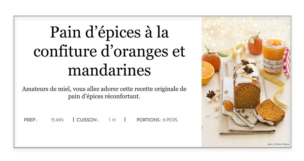 pain d'épices à la confiture d'oranges et de mandarines