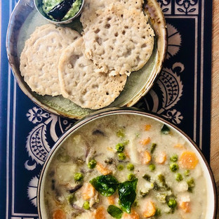 Light Lockdown Lunches..The Kerala Style Stew with Mini Millet Neer Dosas