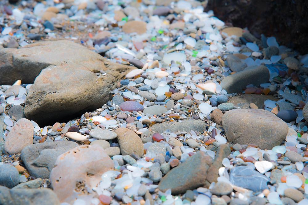 Closeup of beach glass Glass Beach