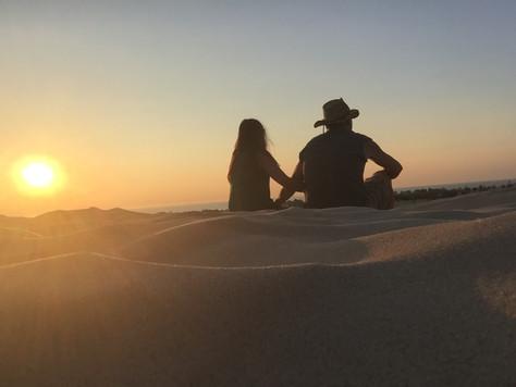 Hiking Silver Lake Sand Dunes at Sunset