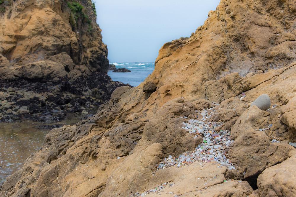 Glass Beach rock and beachglass