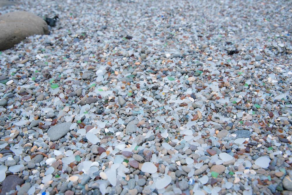 Glass Beach covered in beach glass