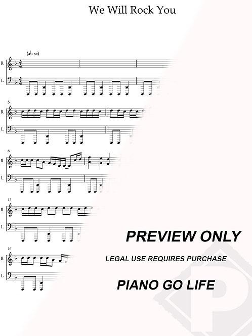 Queen - We Will Rock You Sheet Music