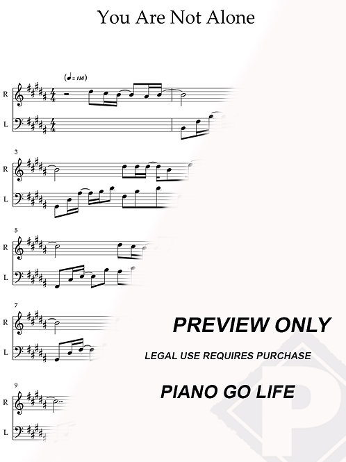 You Are Not Alone - Michael Jackson Sheet Music
