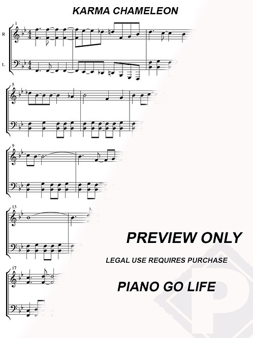 Culture Club - Karma Chameleon Sheet Music