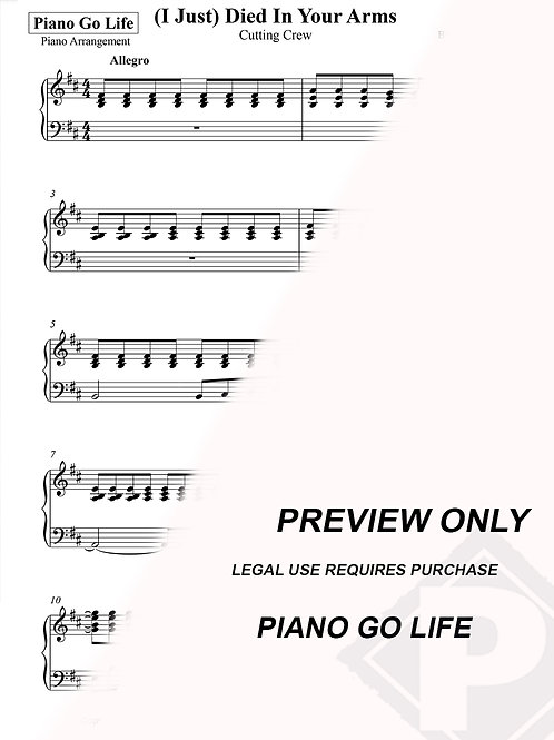 Cutting Crew - (I Just) Died In Your Arms Sheet Music