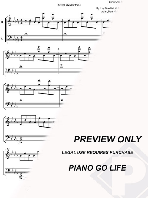 Guns N' Roses - Sweet Child O' Mine Sheet Music