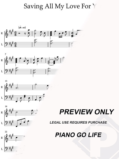 Whitney Houston - Saving All My Love For You Sheet Music