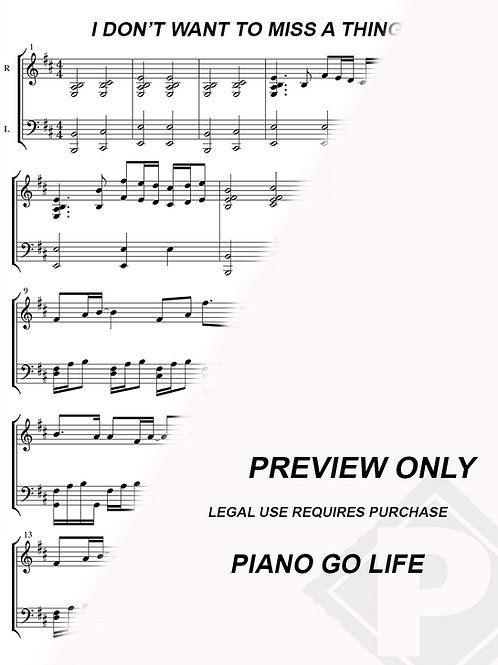 Aerosmith - I Don't Want to Miss a Thing Sheet Music