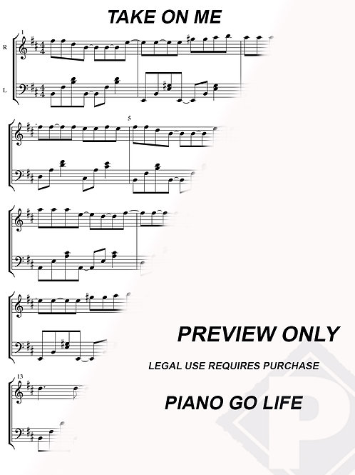 a-ha - Take On Me Sheet Music
