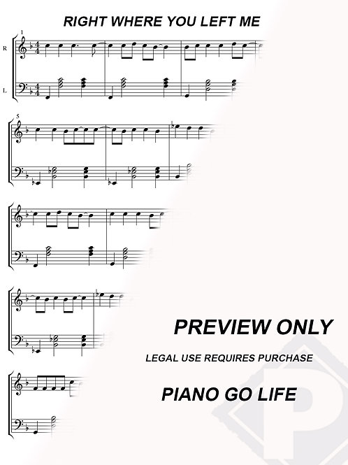 Taylor Swift - Right Where You Left Me Sheet Music