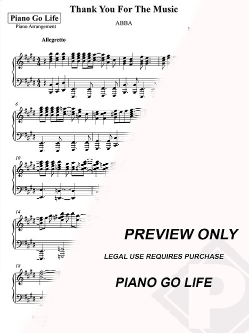 ABBA - Thank You For The Music Sheet Music
