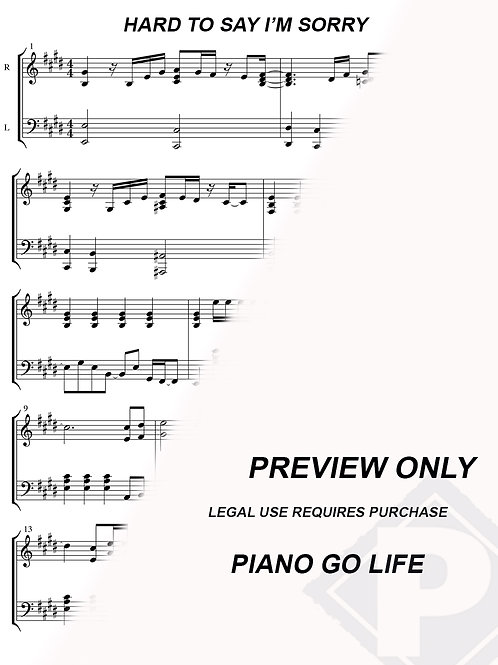 Chicago - Hard To Say I'm Sorry Sheet Music