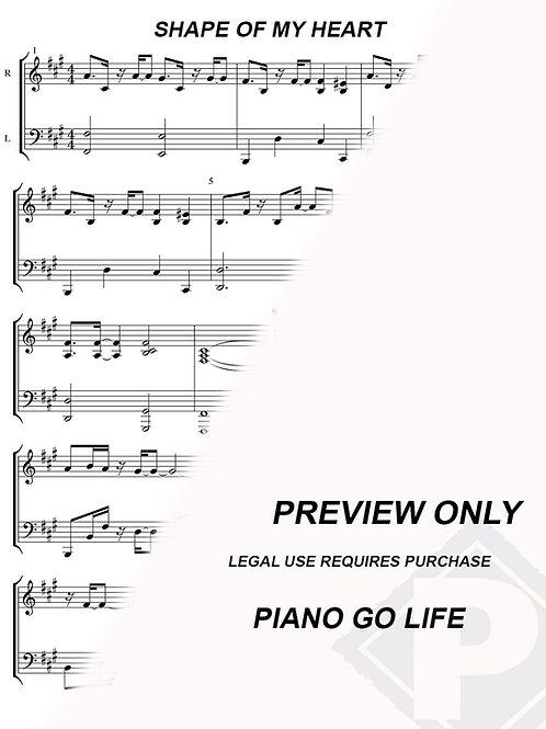 Sting - Shape of My Heart Sheet Music