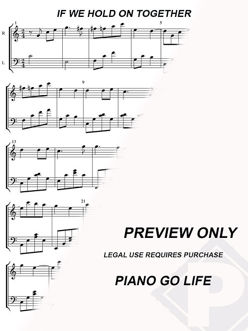 The Land Before Time - If We Hold On Together Sheet Music